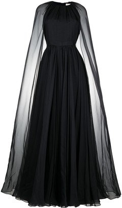 Alexander McQueen Cape-Detail Flared Evening Dress