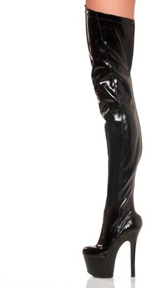 """The Highest Heel Halloween Women's 6"""" Thigh High Platform Stretch Boot"""