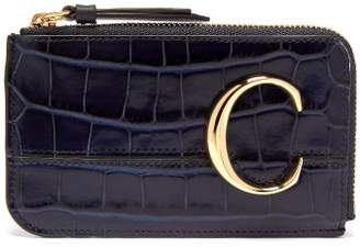 Chloé The C Logo Leather Card And Coin Purse - Womens - Navy