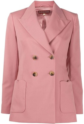 ALEXACHUNG Wool Blend Double-breasted Blazer Soft Pink