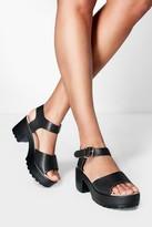 boohoo Julia Peeptoe Two Part Cleated Sandals