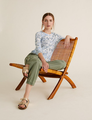 Marks and Spencer Linen Floral Slub Long Sleeve Top