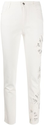 Ermanno Scervino Distressed Flower Detail Skinny Jeans