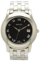 Gucci 5500M Date Stainless Steel Black Dial Quartz 35mm Mens Watch