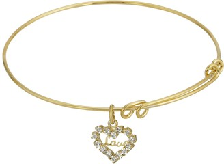 """1928 14k Gold-Dipped Crystal Accented """"Love"""" Heart Charm Wire Bracelet"""