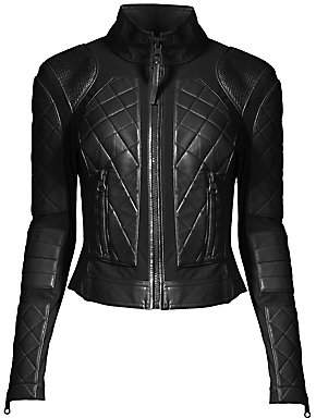 Blanc Noir Women's Leather Moto Jacket
