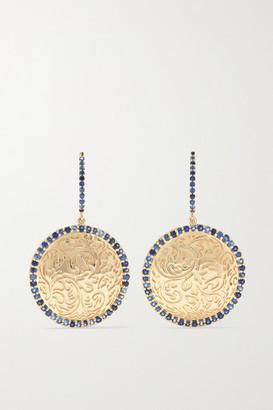 Larkspur & Hawk Emily's Garden Arbor Medallion 14-karat Gold Sapphire Earrings