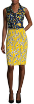 Oscar de la Renta Silk Printed Tie Neck Pencil Dress