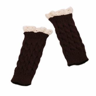 Catyrre Women Winter Cable Knit Half Finger Mitten Lace Patchwork Fingerless Mittens