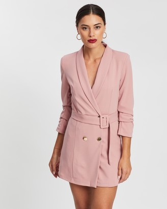 boohoo Ruched Sleeve Double-Breasted Belted Blazer Dress