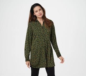 Susan Graver Petite Printed Stretch Peachskin Shirt
