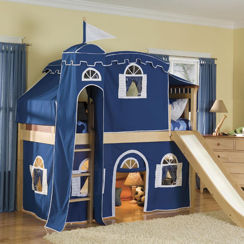 Fantasy Castle Tent Low Loft Bed in Blue and White