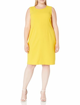 Nine West Women's Plus Size Sleeveless Fitted Dress with Topstitching
