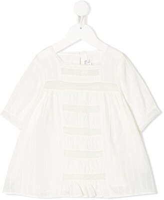 Bonpoint Lace-Trimmed Gathered Top