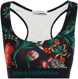 Paco Rabanne Monogram-trimmed Floral-print Stretch-jersey Sports Bra