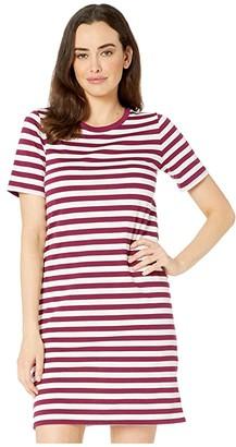 MICHAEL Michael Kors Stripe Short Sleeve T-Shirt Dress (Bone/Garnet) Women's Clothing