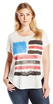NY Collection Women's Plus Size Short Sleeve Scoop Neck Americana Tee