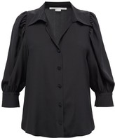 Stella McCartney Balloon-sleeve Crepe De Chine Blouse - Womens - Black