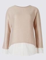 M&S Collection Boucle Foil Mock Hem Long Sleeve Top