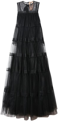 No.21 Tiered Organza Gown in Black