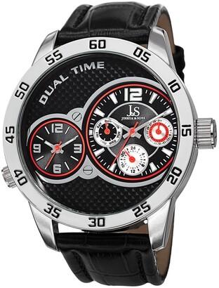 Joshua & Sons Men's Quartz Dual-Time Multifunction Leather Silver-Tone Strap Watch - Black