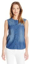 7 For All Mankind Women's S/L Banded Denim Shirt