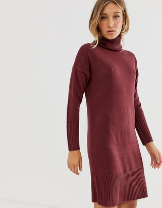 Only long sleeve roll neck jumper dress-Red