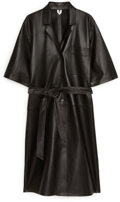 Arket Belted Leather Shirt Dress