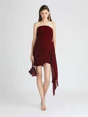 Oscar de la Renta Draped Velvet Cocktail Dress