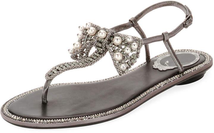 Rene Caovilla Leather Sandal with Embellished Bow