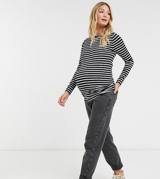 ASOS DESIGN Maternity long sleeve striped top in navy