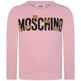 Moschino MoschinoGirls Pink Teddy Logo Jersey Top