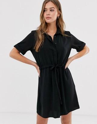 New Look tie waist detail shirt dress in black