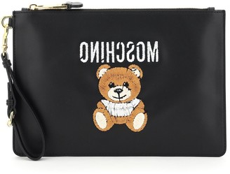 Moschino Teddy Embroidered Clutch Bag