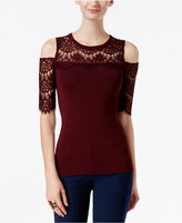 INC International Concepts Lace Cold-Shoulder Sweater, Only at Macy's
