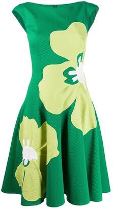 Talbot Runhof Floral Print Waffle Pique Dress