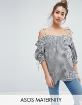Asos Cold Shoulder Top with Tie Shoulder in Gingham