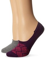 Keds Women's Sneaker Liner Sock with Silicone Heel Grip 2-Pack Purple