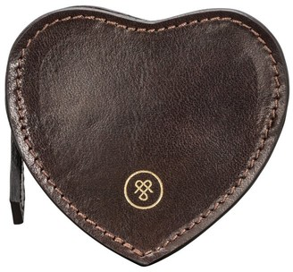 Maxwell Scott Bags Maxwell Scott Real Italian Leather Heart Coin Purse - Mirabella Brown