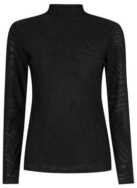 Dorothy Perkins Womens Black Long Sleeve Textured High Neck Top, Black