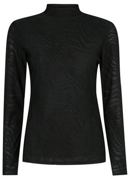 Dorothy Perkins Womens Black Long Sleeve Textured High Neck Top, Black