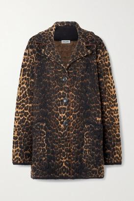 Saint Laurent Leopard-jacquard Wool-blend Coat - Leopard print