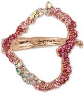Betsey Johnson Rose Gold-Tone Pink Stone Heart Cuff Bracelet