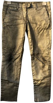 Dondup Gold Cotton Trousers for Women