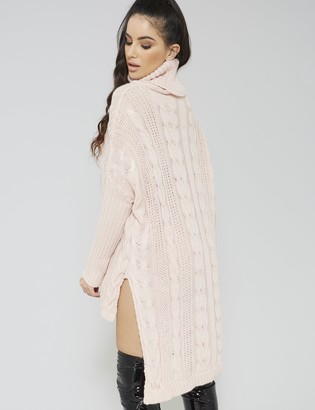 Public Desire High Neck Cable Knitted Dip Hem Dress