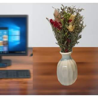 Creative Motion Handmade Dry Flowers with Ceramic Vase (White Vase);Product Size: 7.5x3.5x3.5 (vase size: 3x1.5x1.5). Accent Any office Home Dorm Wedding Table Center Piece