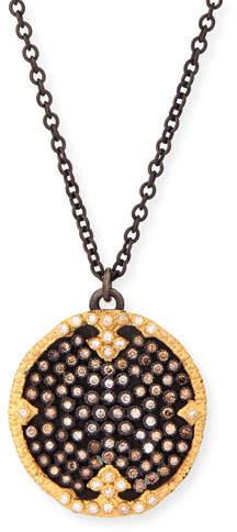 "Armenta Old World Midnight Pavé Diamond Disc Pendant Necklace, 32""L"