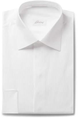 Brioni White Slim-Fit Bib-Front Double-Cuff Cotton-Voile Shirt