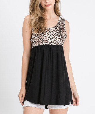 Cool Melon Women's Tank Tops Black - Black & Mocha Leopard Color Block Sleeveless Tunic - Women & Plus