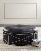 Massoud Shipley Leather Ottoman